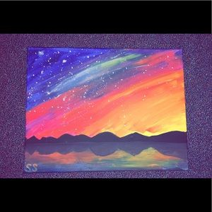 Other - Handmade Northern lights mountain painting.